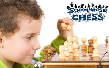 Boy playing chess with the mad science school house chess logo on top of image.
